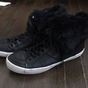Rebecca Minkoff black leather high tops w fur